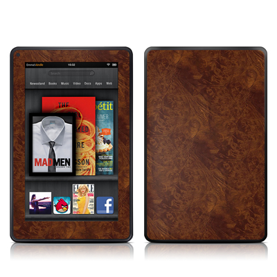 Amazon Kindle Fire Skin (High Gloss Finish) - Dark Burlwood