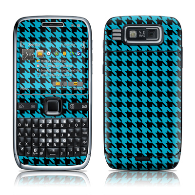 Nokia E72 Skin (High Gloss Finish) - Teal Houndstooth
